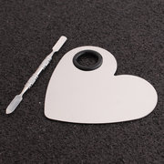 Heart Shape Stainless Steel Spatula Palette Makeup Nail Art Foundation Mixing Tool Kit