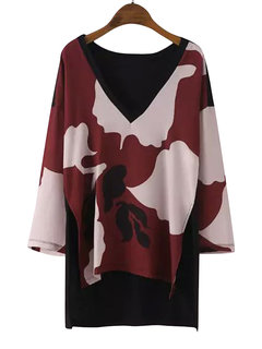 Fashion High Low V Neck Floral Casual Quarter Women Knit Blouse