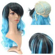 Gradient Color Cosplay Wig Hair Women Full Long Curly Wavy Wigs Blue