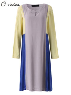 O-Newe Vintage Color Contrast Plate Button Long Sleeve Dress For Women