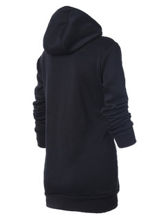 Women Autumn Winter Casual Hooded Drawstring Long Sleeve Pure Color Pullover Sweatshirt