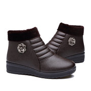 Metal Flower Beaded Ankle Fur Lining Soft Casual Boots For Women