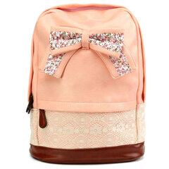 Women PU Lace Backpack Casual Bow Knot School Shoulder Bag