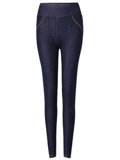 Casual Solid High Waist Pocket Stretch Pencil Trousers For Women