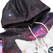 Mens Hoodies Original 3D Starry Sky Cat Pizza Printing Fashion Casual Sport Hooded Tops
