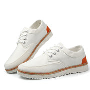 Big Size Men Lace Up Canvas British Style Casual Pure Color Shoes