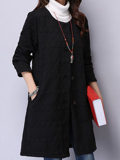 Women Vintage Embossed Long Sleeve Single-Breasted Cotton Cardigan