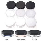 3Pcs Empty Cosmetic Jars Pots Powder Sifter Loose Powder Container Set Clear Black White
