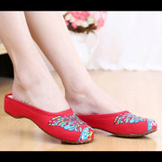 Butterflyknot Embroidery National Wind Retro Colorful Open Heel Slip On Flat Shoes