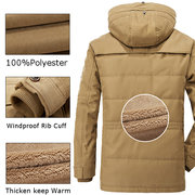 AFS JEEP Winter Thicken Warm Multi Pockets Solid Color Detachable Hood Jacket for Men