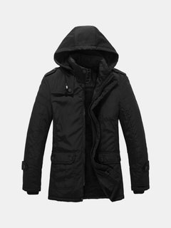 Winter Casual Fashion Thicken Warm Multi Pockets Black Detachable Hood Jacket for Men
