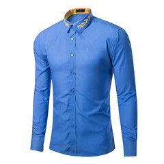 8 Colors Mens Casual Business European American Style Collar Printing Long Sleeve Dress Shirts