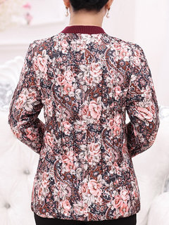 Casual Flower Printed Long Sleeve Stand Collar Button Coat For Women