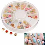 Nail Art Decoration Beads Gems Round Wheel DIY Design Resin Cute