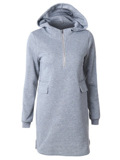 Casual Pure Color Hooded Long Sleeve Dress For Women