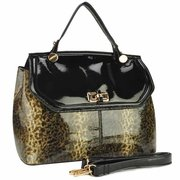 Stylish Leopard Print Color Block Shoulder Bag