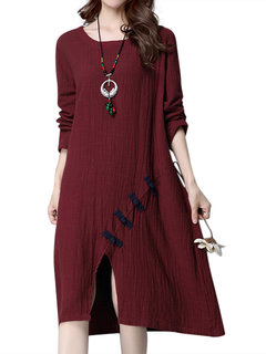 Vintage Pure Color O-Neck Long Sleeve Split Dress For Women