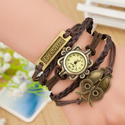 Owl Dream Weave Leather Watch