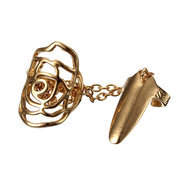 Hollow Rose Link Chain Gold Silver Plated Nail Ring