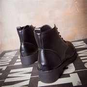 Black Lace Up Block Heel Riding Ankle Boots