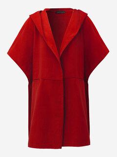 Elegant Women Woolen Hooded Batwing Sleeve Loose Coat