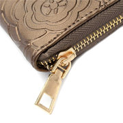 Women Vintage Flower Print Casual Long Zipper Wallet Ladies Elegant Cards Coins Purse