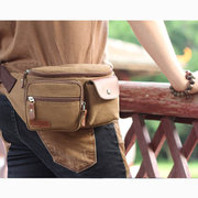 Men Business Casual Canvas Multifunctional Portable Crossbody Bags Waist Bag