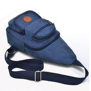Men Canvas Casual Chest Bag Outdoor Travel Sport Shoulder Bags Crossbody Bags