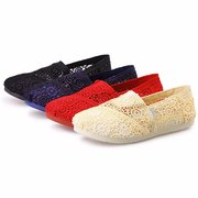 Lace Hollow Out Slip On Breathable Flat Casual Mesh Lazy Shoes