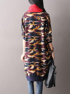 Plus Size Women Classic Batwing Sleeve Camouflage Pattern Patchwork Dress