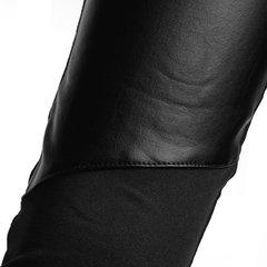 Sexy Faux Leather Splicing Stretch Shiny Tights Women Leggings