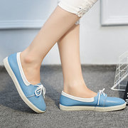 Big Size Candy Color Lace Up Soft Leather Casual Flat Shoes