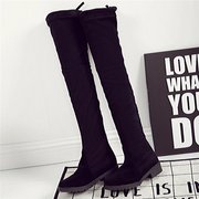 Suede Fashion Over The Knee Black Slip On Square Heel Pure Color Boots