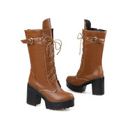 Big Size Chunky Heel Buckle Lace Up European Style Boots
