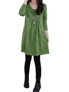 Brief Solid Casual Loose Long Sleeve O Neck  Pocket Women Dress