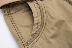 Men's Summer Casual Baggy Multi Pockets Cargo Pants Solid Color Cotton Blend Shorts