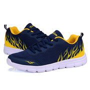 Men Mesh Pattern Breathable Lace Up Casual Sport Outdoor Running Shoes