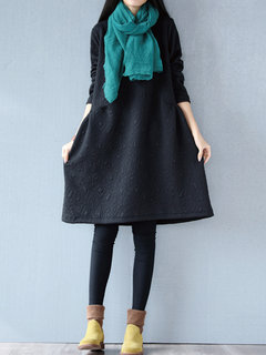 Women Long Sleeve Pure Color Pocket Thicken Loose Vintage Dress