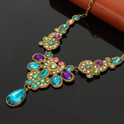 Vintage Necklace Long Blue Maxi Crystal  Choker Collar Necklace