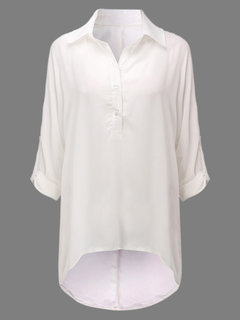Casual Pure Color Lapel Button High Low Shirt For Women