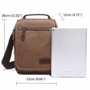 Retro Canvas Multi-Functional Crossbody Bag Square Solid Shoulder Bag For Man