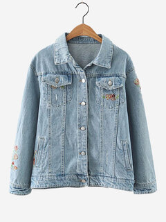 Women Vintage Denim Embroidery Hollow Jacket