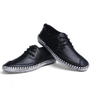 Big Size Weave Leather Lace Up Casual Toe Protecting Shoes