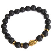 Lava Rock Gold Buddha Head Beads Bracelet
