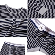 Casual Soft Breathable Stripes Printing Warm Close Fitting Pajamas Sets for Men
