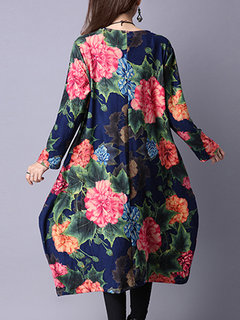 Loose Flower Printed O-Neck Long Sleeve Pocket A-Line Dress For Women