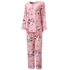 Cosy Round Neck Long Sleeve Pajamas Breathable Sleepwear Sets For Women