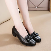 Black Metal Bowknot Leather Slip On Wedge Heel Soft Comfortable Shoes