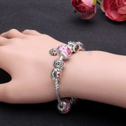 Queen Crown Crystal Glass Beads Silver Plated Bracelet