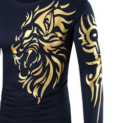 Mens Long Sleeve T-shirt Golden Dragon Tattoo Printing Quick-dry Casual Fall Winter Top Tee